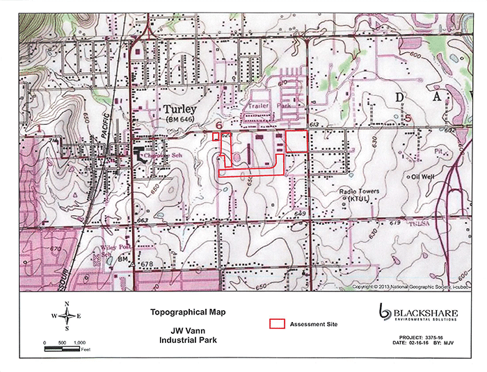 J.W. Vann Industrial Park Topographical Map